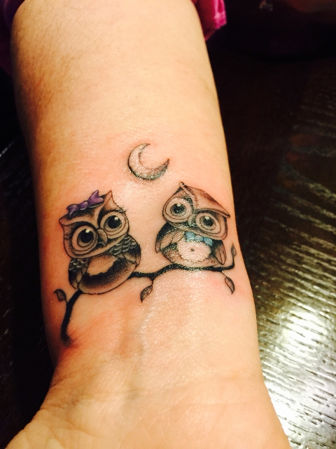 picture of two owls tattoo on the wrist. Black Bedroom Furniture Sets. Home Design Ideas