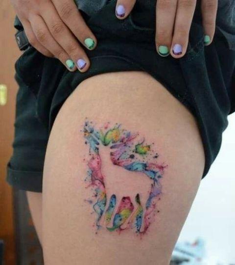 Watercolor deer tattoo