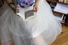 DIY white midi tulle skirt
