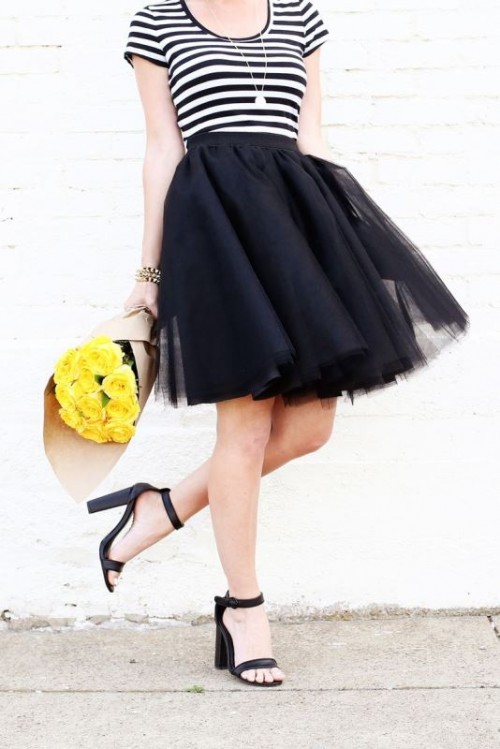DIY black over the knee tutu skirt