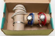 DIY bracelet and watch holder in a box