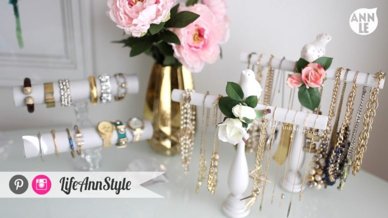 DIY necklace and bracelet holder of a candle stick (via www.lifeannstyle.com)