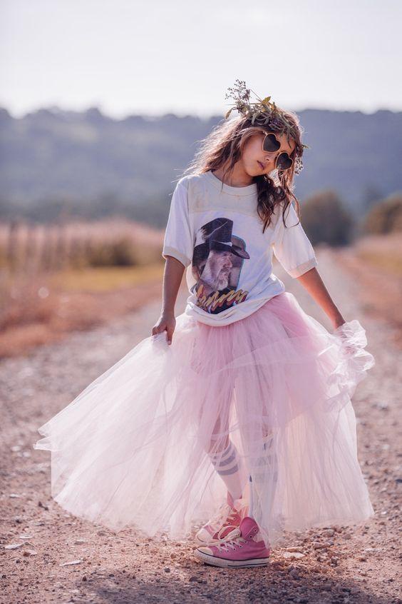 a blush long tutu, a printed t-shirt and pink Converse