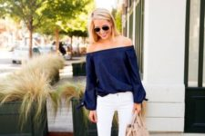 02 a navy off the shoulder top, white denim and nude heels