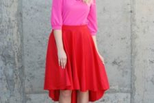 02 a pink top, a high low red skirt, pink heels