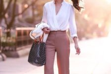 02 a white shirt, salmon pink pants and blush heels