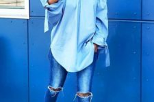 02 ripped blue jeans, a blush off the shoulde top, nude lace up heels