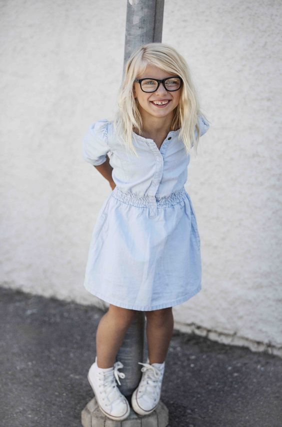 a chambray dress and white Converse