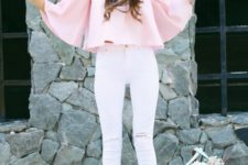 03 a pink off the shoulder crop top with white ripped jeans and a mint leather bag