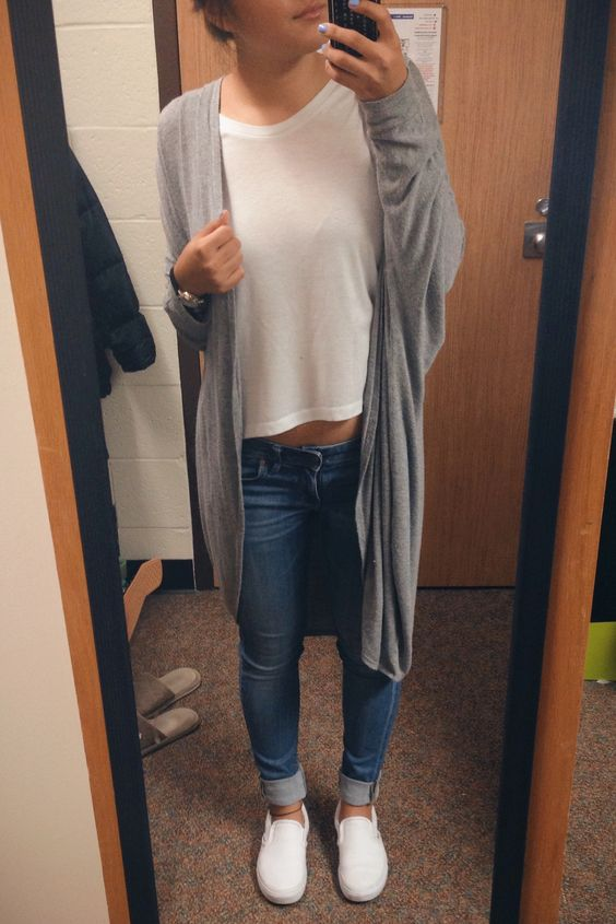 a white tee, blue cuffed jeans, white Vans and a grey cardigan