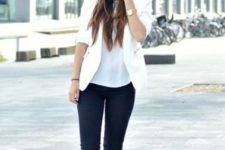 03 black jeans, a white top and blazer and white Converse