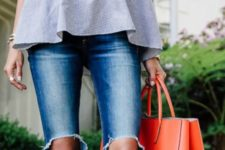 03 layered grey off the shoulder top, ripped jeans, a coral tote and whimsy heels