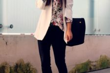 04 black pants and heels, a floral shirt and a white blazer