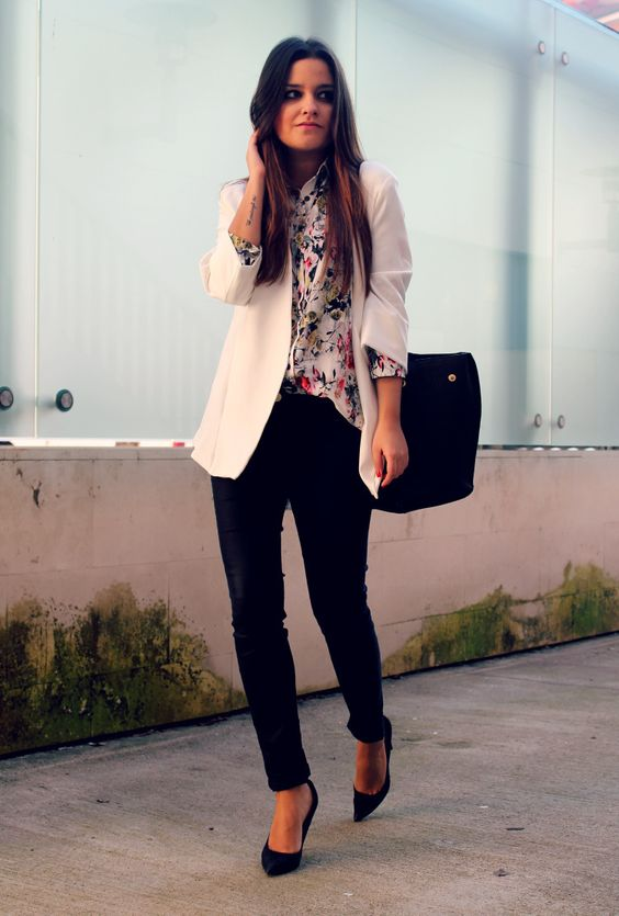 68d350455 black pants and heels, a floral shirt and a white blazer