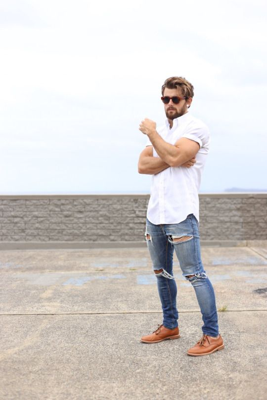 20 stylish ripped jeans spring outfits for men styleoholic for White shirt outfit mens