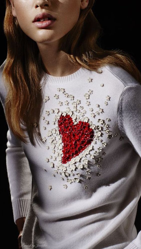 bold embellished red heart sweater