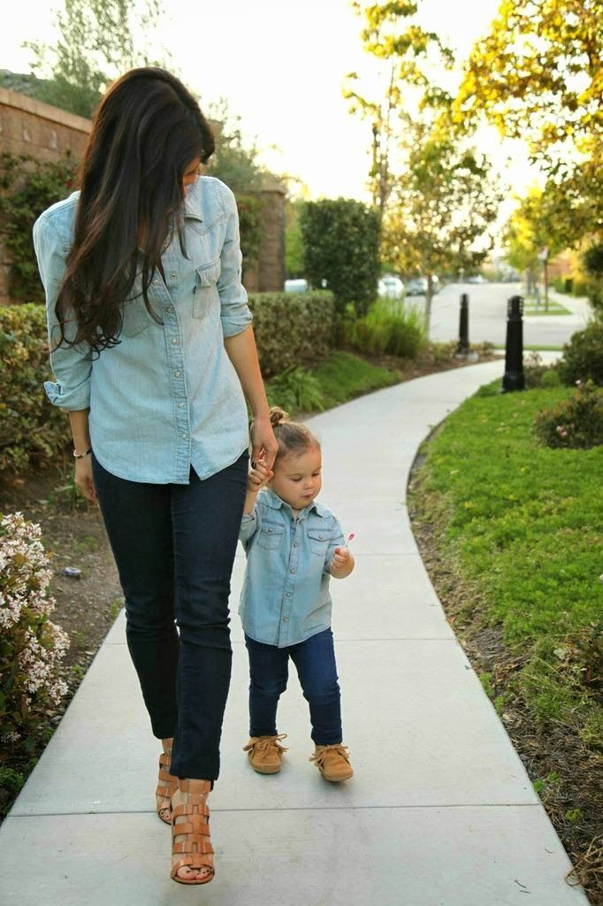 Picture Of Dark Jeans Chambray Shirts And Nude Heels