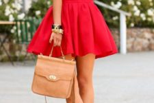 04 flowy red mini skirt, a white lace top, leopard heels and a tan bag