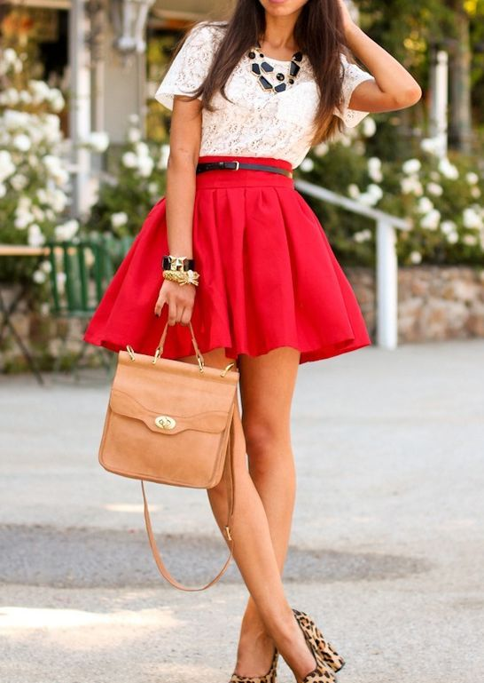 Picture Of flowy red mini skirt, a white lace top, leopard ... | 546 x 769 jpeg 60kB