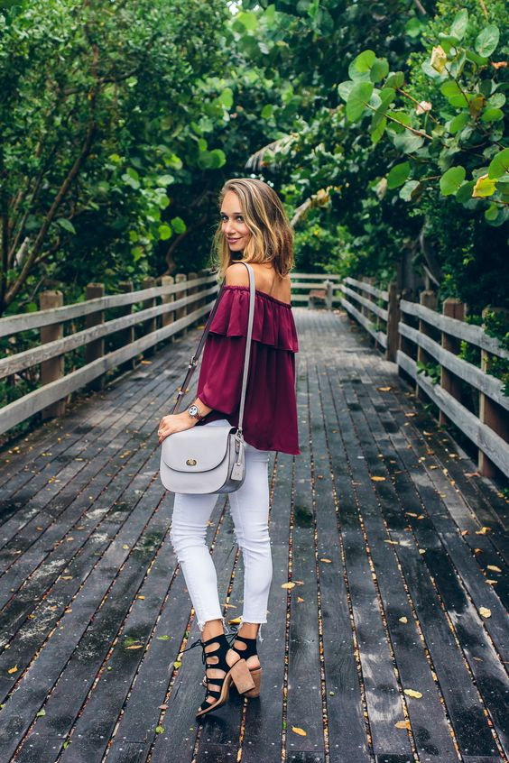 f8d964aeb21 white jeans, a burgundy off the shoulder top, black lace up heels