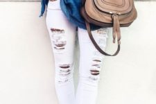 04white ripped jeans, a blue off the shoulder top and nude heels