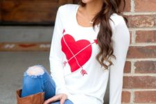 05 a heart long-sleeve top, jeans and high boots
