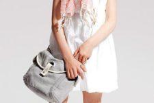 05 a white dress, a striped scarf, white Converse and a crossbody bag