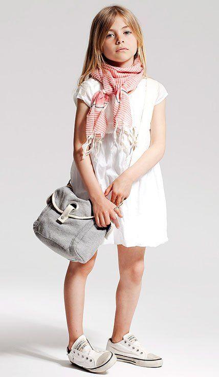 a white dress, a striped scarf, white Converse and a crossbody bag