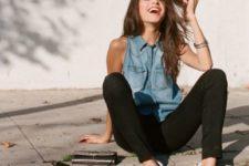 05 black jeans, a denim sleeveless top, checked slipons