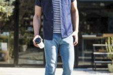05 blue jeans, moccasins, a striped tee and a navy shirt