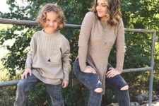 05 dark denim, beige sweaters, beige heels for the mom and boots for the kid