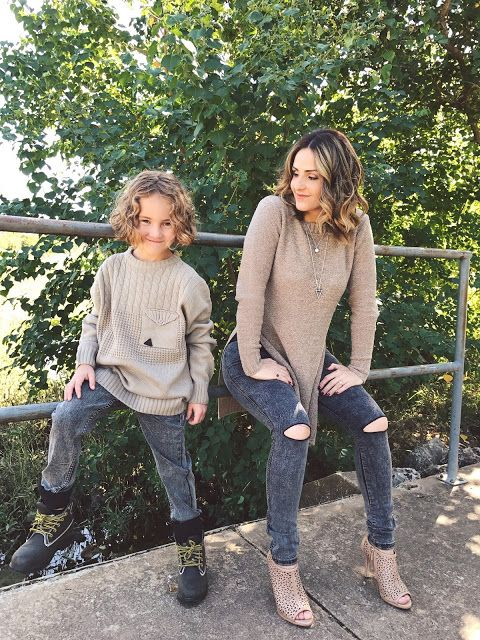 dark denim, beige sweaters, beige heels for the mom and boots for the kid