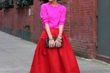 05 hot red midi, ankle strap heels and a hot pink sweater