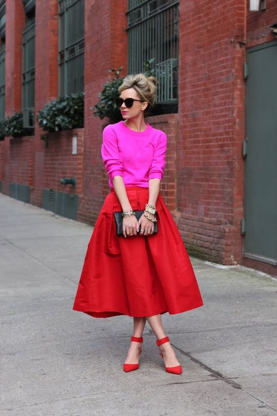 hot red midi, ankle strap heels and a hot pink sweater