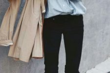 06 black ripped jeans, a chambray shirt and white sneakers