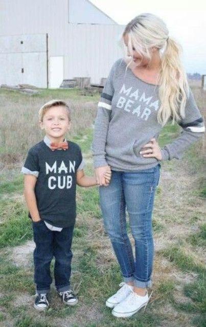denim, Converse and printed tee and sweatshirt