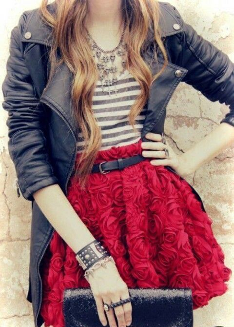 red rose mini skirt, a striped tee, a black moto jacket and a clutch