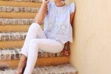 07 brown wedges, white jeans, a perforated boho top