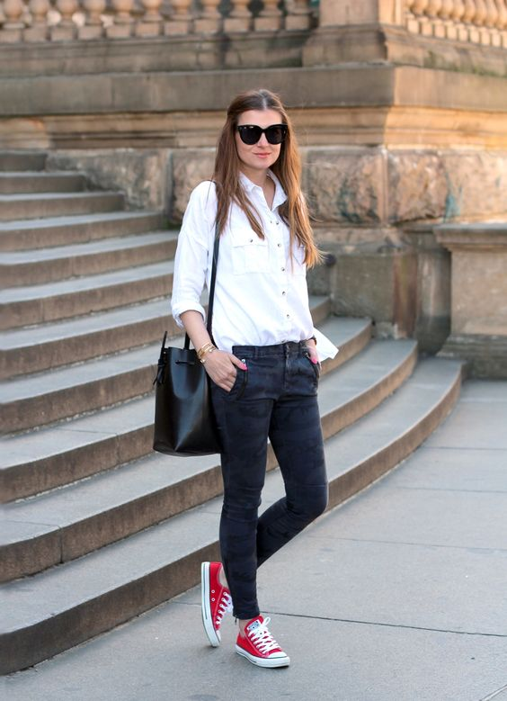 dak denim, a white shirt and red Converse