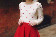 07 red mini, a kiss printed sweatshirt and black tights