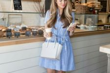 07 striped blue mini dress and neutral wedges