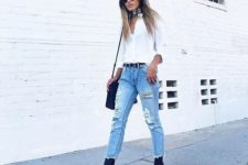 08 ripped distressed denim, a white shirt and navy boots