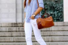 08 white Converse, white ripped denim, a striped blue shirt