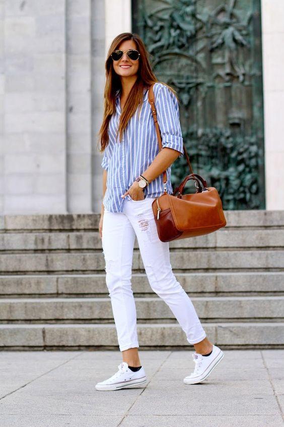 white Converse, white ripped denim, a striped blue shirt