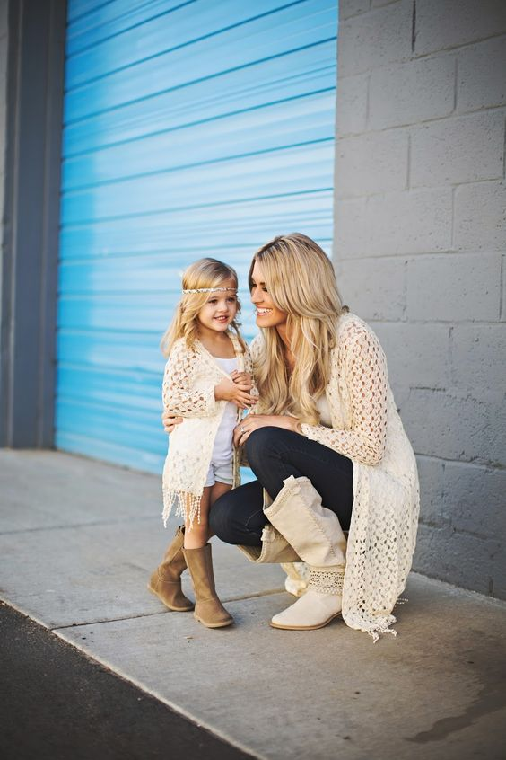 crocheted cardigans, neutral tees, dark denim and neutral boots for the mom and brown boots and white shorts for the girl