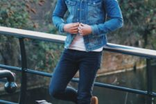 09 navy jeans, a white tee, brown shoes and a denim jacket