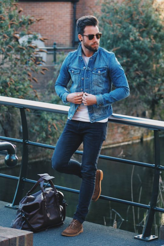 navy jeans, a white tee, brown shoes and a denim jacket