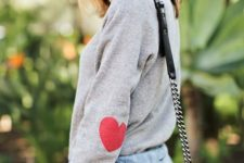 09 red hearts on your sweatshirt sleeves are a great idea