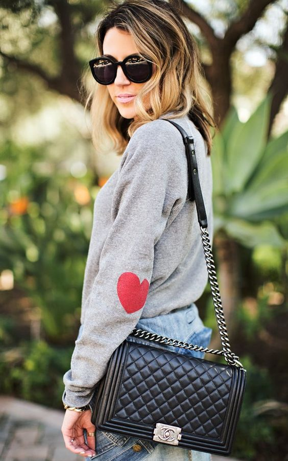 red hearts on your sweatshirt sleeves are a great idea