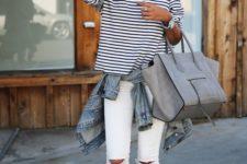 09 ripped white denim, a striped shirt, blush flats and a denim jacket